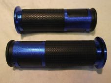 Bar grips rubber and blue alloy grip rings for 22mm 7/8 bars 380